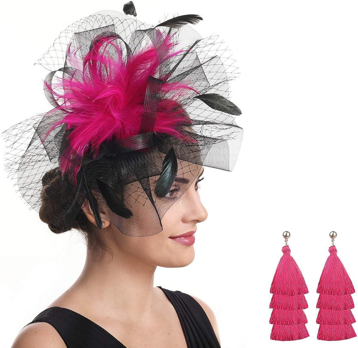 Vintage Women Fascinator Hat Flower Hair Clip Headwear Derby Church Wedding Cocktail Feather Hat