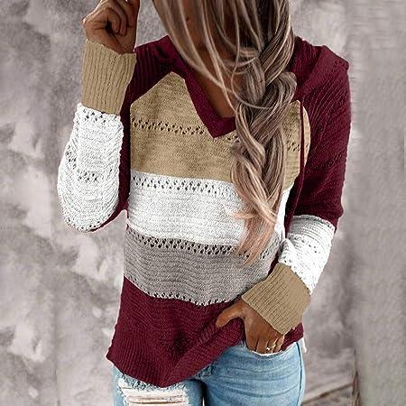 ZJMIYJ Dames shirt met lange mouwen, casual gebreide trui
