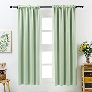 Anjee Blackout Curtains 45 Inch Kitchen Curtain Green Window Curtain Kids Room Darkening Drapes Thermal Insulated Drapery 2 Panels Home Decor Gifts,Fresh Green 38x45 Inches