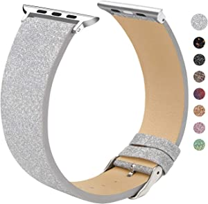 EurCross Watch Band Compatible with Apple Watch 38mm 40mm Shiny Strap Replacement Wristband for Women Glitter Bands Compatible with iWatch Series 5/4/3/2/1 (Silver 38mm/40mm)