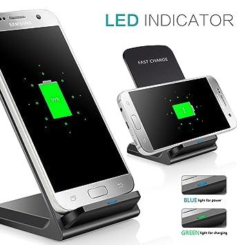 Cargdor Inalámbrico,Tevina Qi Cargador Carga Rápida por Induccion Cargador Inalambrico Wireless Cargador Adaptado para Samsung Galaxy Note 5 /Galaxy ...