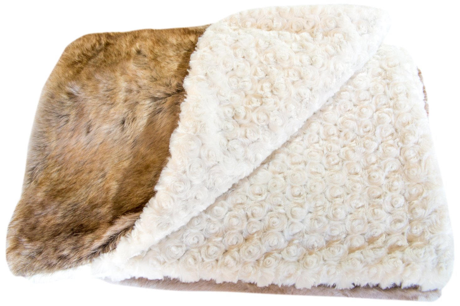 GoodDogBeds Faux Fur Square Dog Blanket, 36 by 36-Inch, Brown Shell
