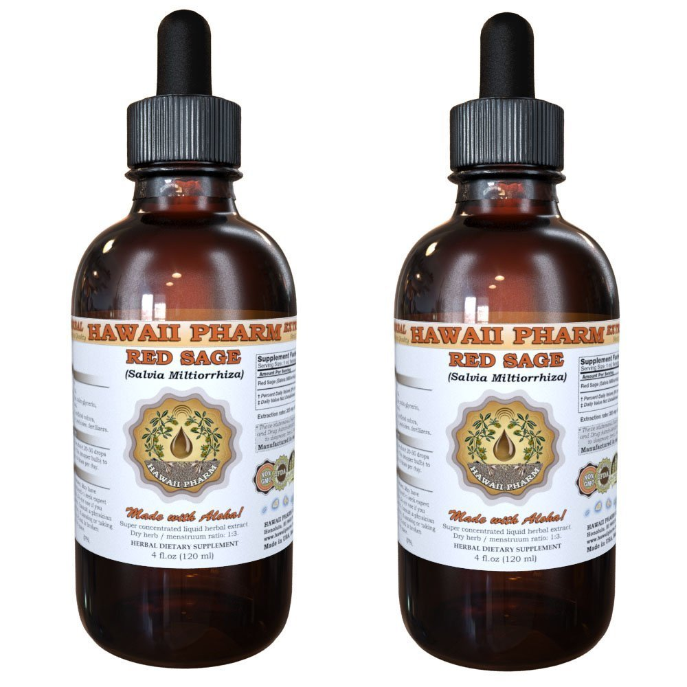 Red Sage Liquid Extract, Organic Red Sage (Salvia Miltiorrhiza) Tincture 2x4 oz