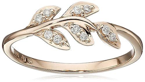 36720892d4ef9 10k Rose Gold Diamond Leaf Ring (1/12cttw, IJ Color, I2-I3 Clarity), Size 7