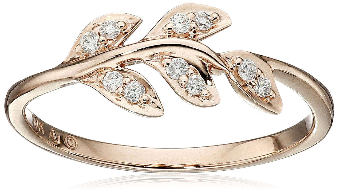 10k Rose Gold Diamond Leaf Ring (1/12cttw, I-J Color, I2-I3 Clarity), Size 7 by Amazon Collection