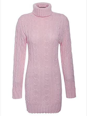 db630b744891 ZEE Fashion Ladies Womens Long Sleeve Polo Neck Cable Knitted Jumper Dress  Top Plus Size UK