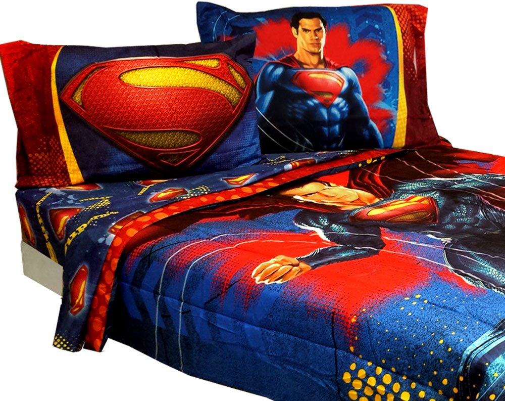 Amazon.com: Superman Full Bedding Set Super Steel Comforter Sheets By DC  Comics: Home U0026 Kitchen