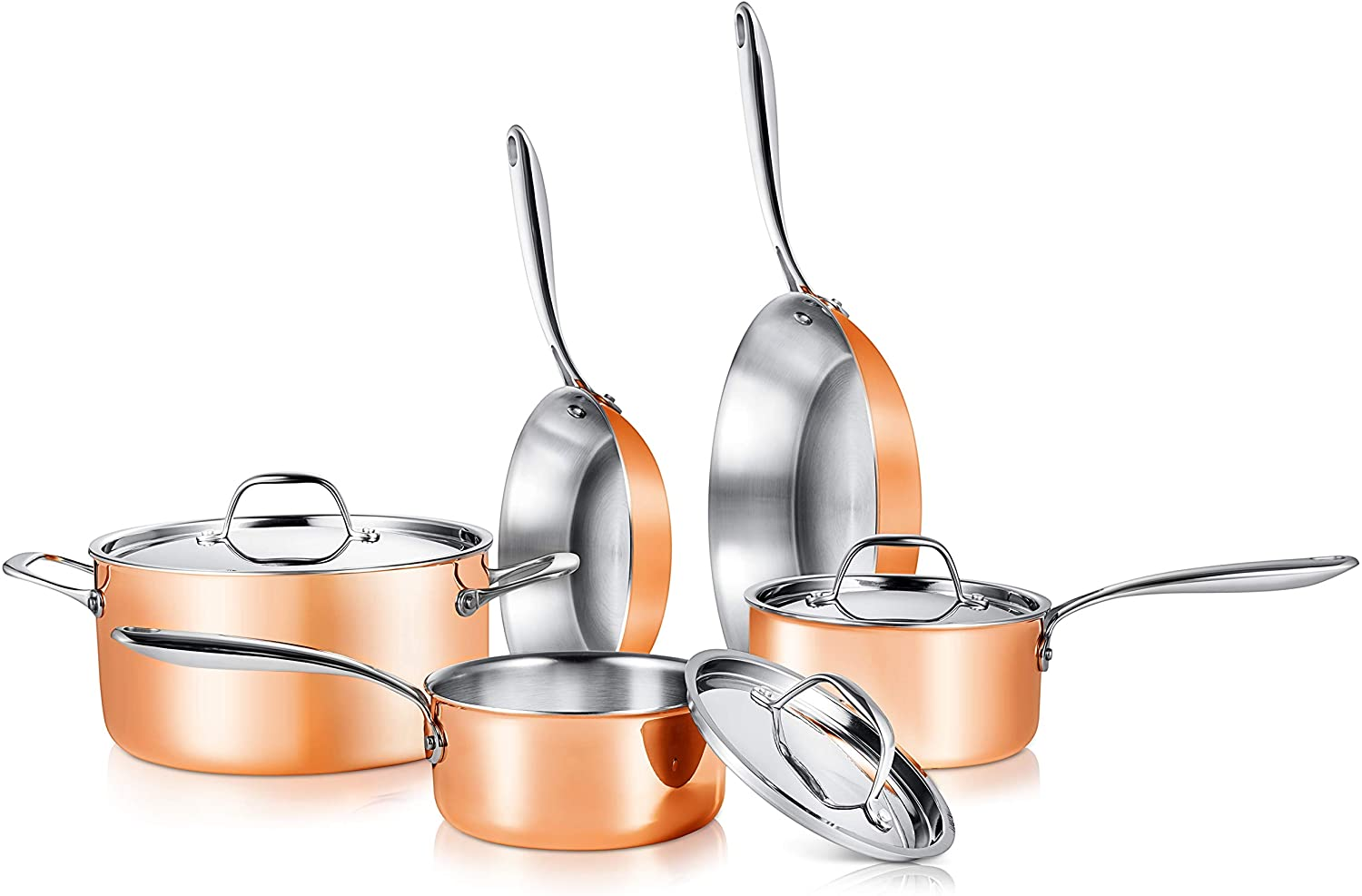 NutriChef 8-Piece Kitchenware Pots & Pans Set Stylish Kitchen Cookware with Cast Stainless Steel Handle, Tri-Ply Authentic Coppe, 8 Sizes, Copper