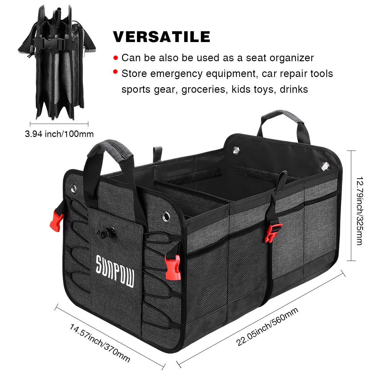 AUTOWN Car Trunk Organizer Non-Slip Bottom Strips to Prevent Sliding Collapsible Portable Multi Compartments Cargo Storage with Straps Gray