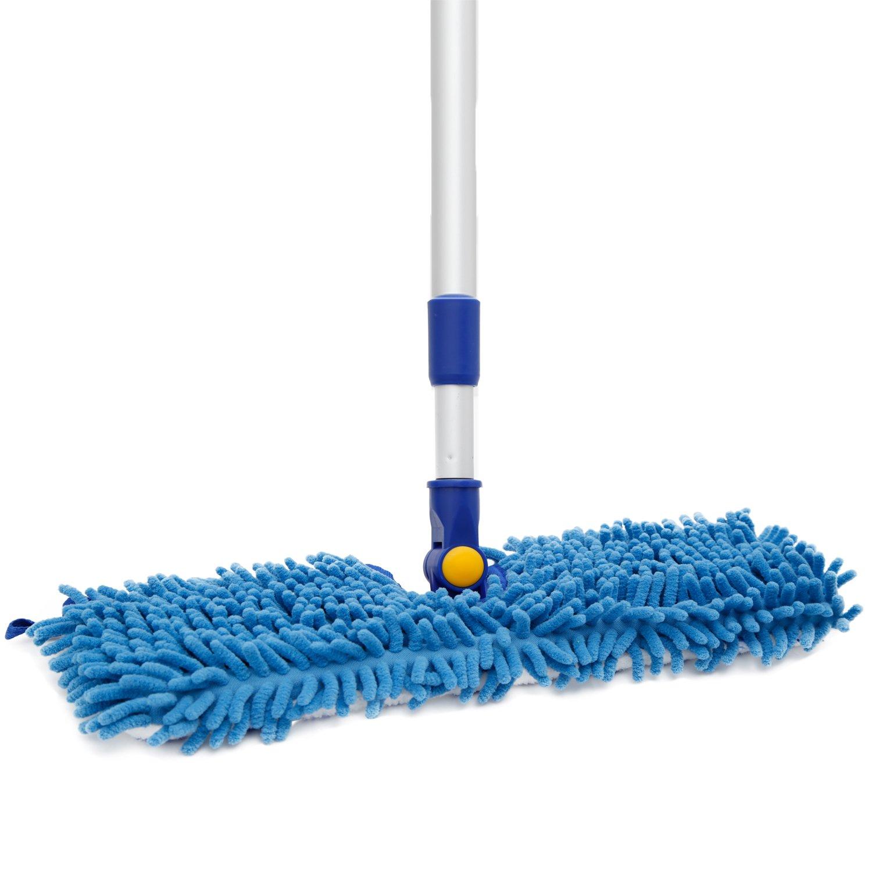 JINCLEAN 18'' Microfiber Floor Mop   Dual Side Different Action Dust Mop Dry to Attract dirt, dust, pet hair Or Hardwood Floor Clean, Telescopic Aluminum Pole Adjust height max 51''
