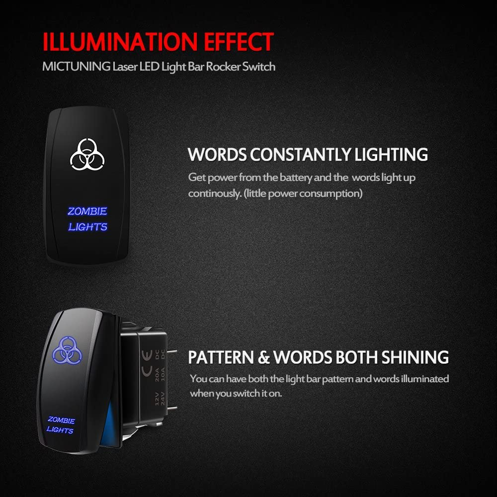 Amazon.com: MicTuning MIC-LSZ1, 5 Pin Zombie Rocker Switch On-Off LED Light  20A 12V, Blue: AutomotiveAmazon.com