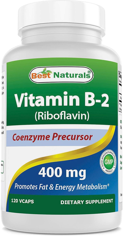Best Naturals Vitamin B2 (Riboflavin) 400mg - Migraine Relief - Veggie Capsules - Conezyme Precursor - 120 Count