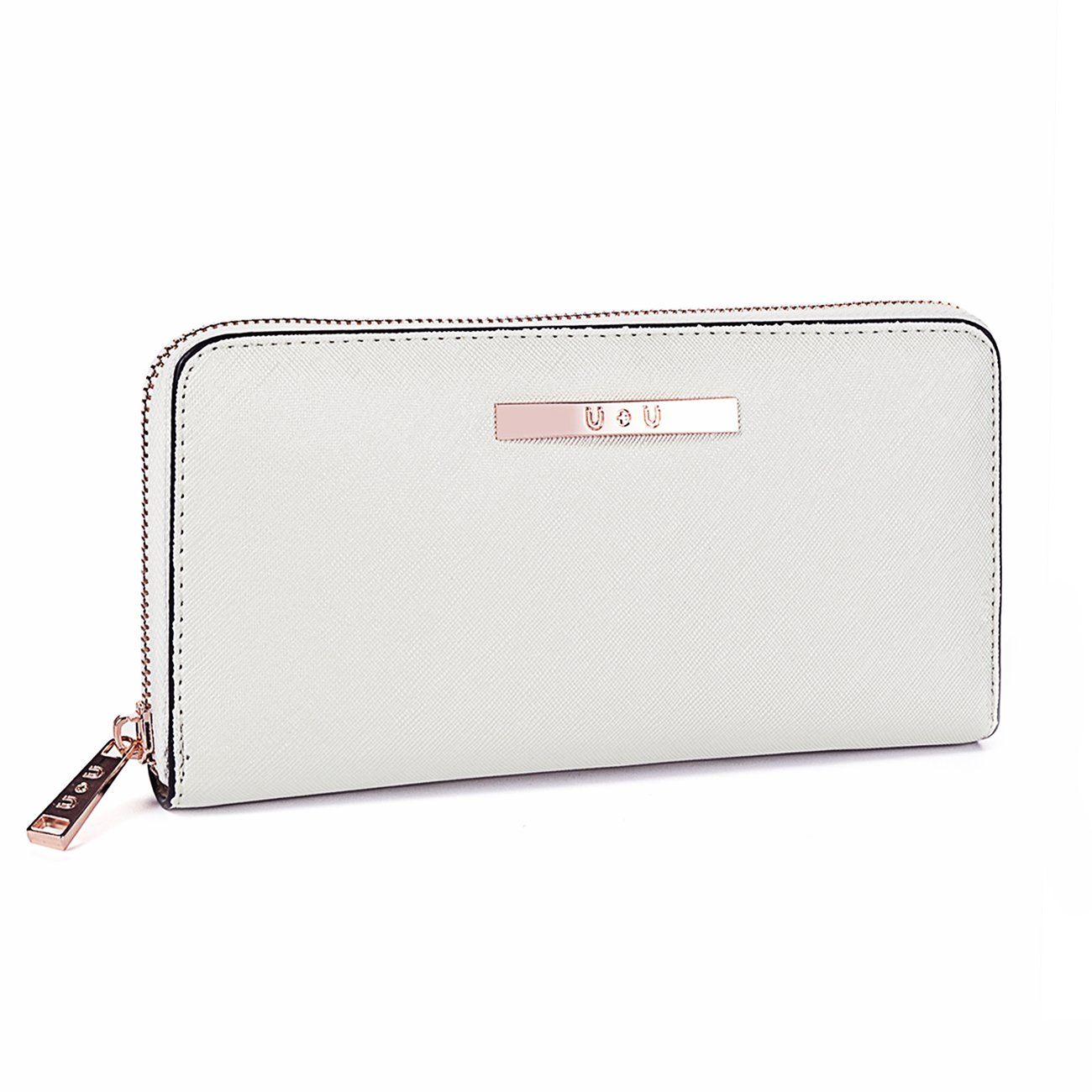 Womens Wallet Long Soft Leather Clutch Card Holder Zipper Purse(White)