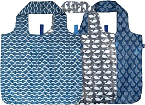 rockflowerpaper Blue Navy White Printed Pack of 3 Reusable Grocery Shopping Bag, Eco-friendly Convenient Machine Washable Everyday Totes
