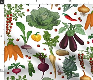 Spoonflower Fabric - Tomatoes Vegetable Garden Bold Graphic Bright Colour Vegetables Food Printed on Cotton Poplin Fabric by The Yard - Sewing Shirting Quilting Dresses Apparel Crafts