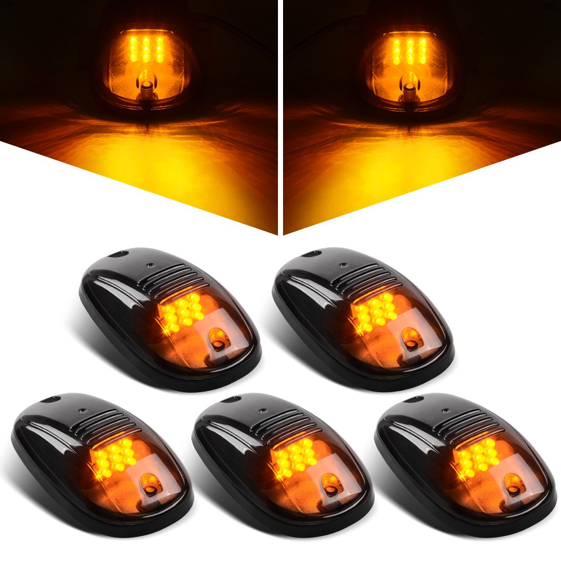Clear 5Pcs LED Cab Roof Running Marker Lights with Gasket for 2003-2018 Dodge Ram 1500 2500 3500 4500 5500 Pickup Truck DWVO