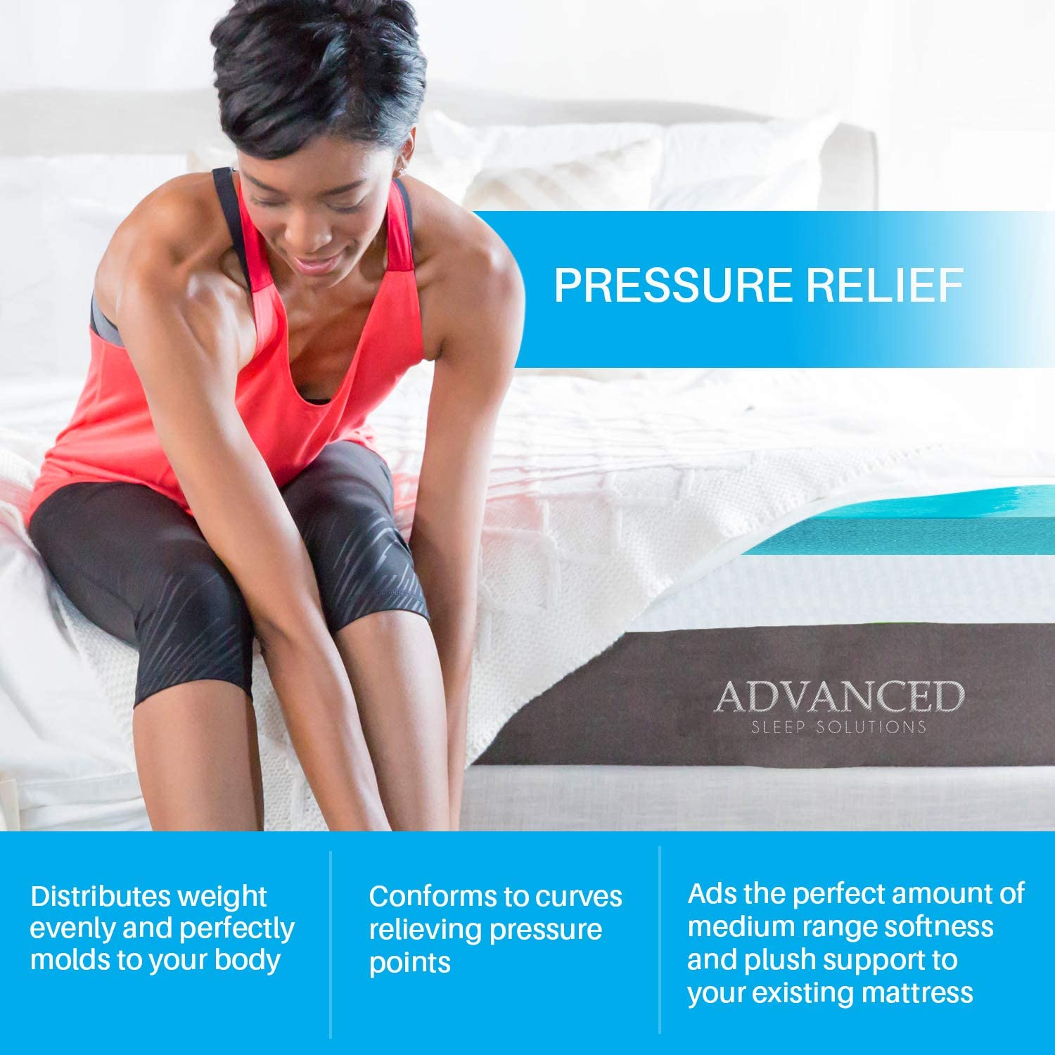 Gel Infused Memory Foam Mattress Topper Various Sizes  and Thickness