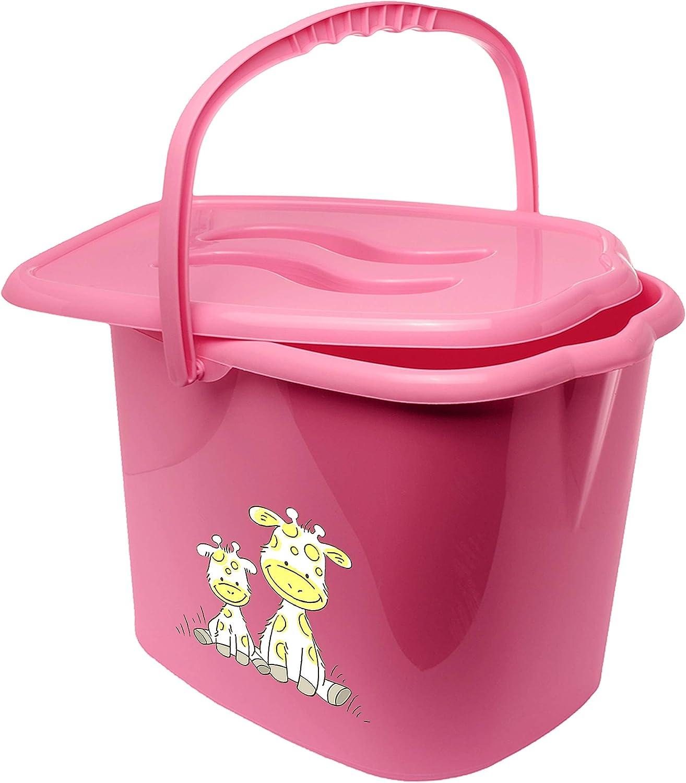 rosa Putzeimer alles-meine.de GmbH Eimer // Windeleimer mit Deckel Tragegriff Windeln Babywindeln g.. Giraffe /_ inkl geruchsdicht Bieco pink /_ Tiere Geruch Name