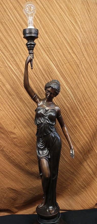 Hecho a mano Escultura de bronce europea la lámpara de pie ...
