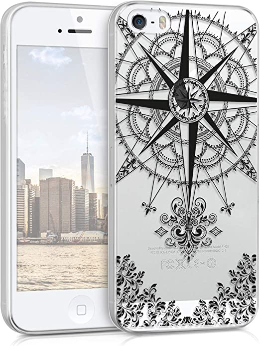 kwmobile Coque transparente pour Apple iPhone SE (1.Gen 2016) / 5 / 5S - Coque arrière en TPU pour smartphone - Boussole baroque Noir/transparent