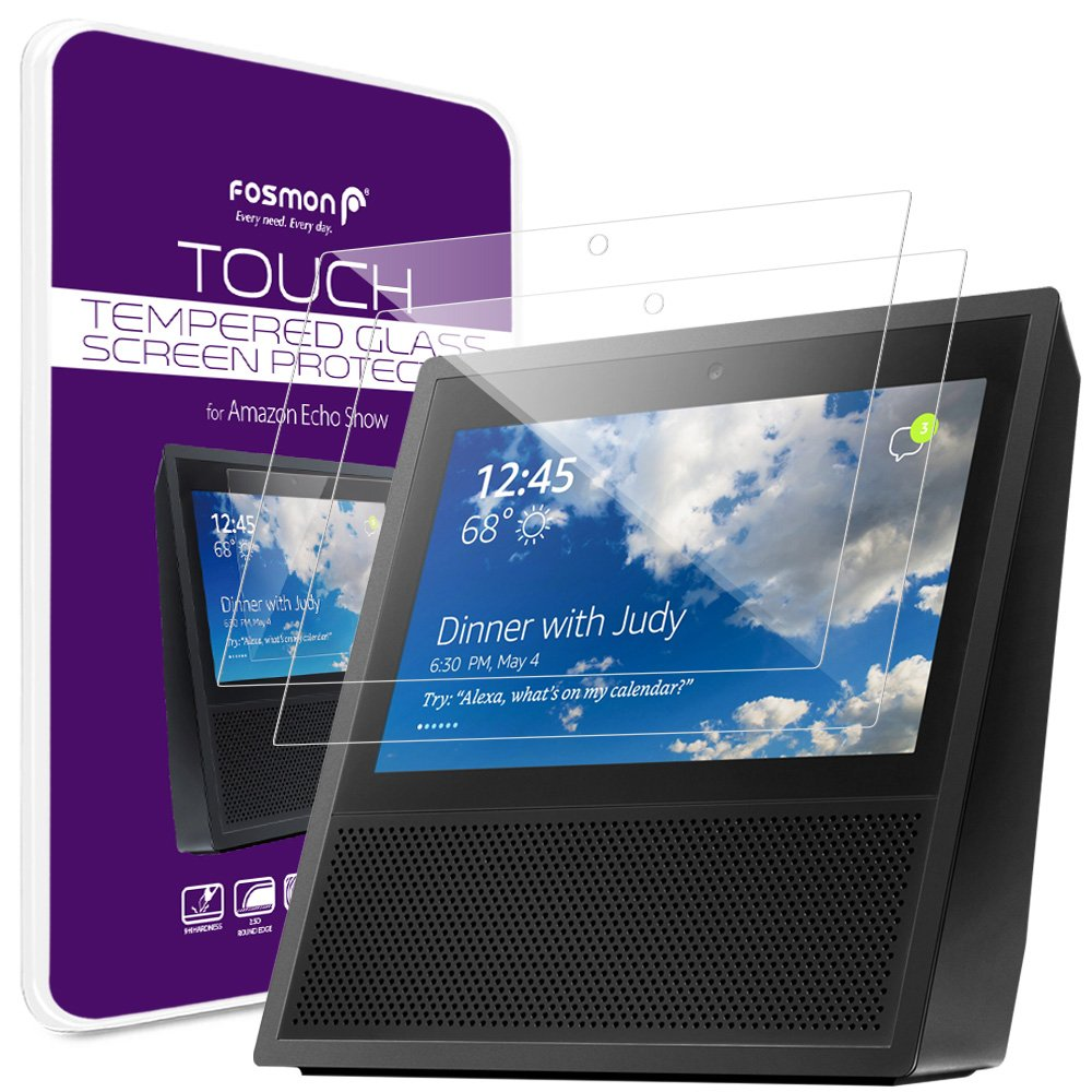 Amazon Echo Show Screen Protector (2 Pack), Fosmon TOUCH HD Clear [Shatter Proof | 9H Hardness | Oleophobic Coating] Tempered Glass Screen Shield for Amazon Echo Show