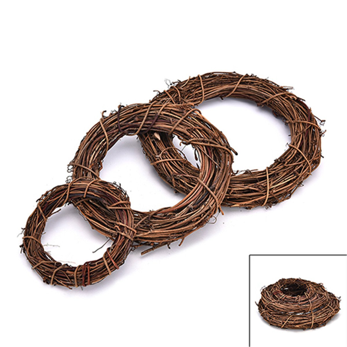 4 inches Natural Grapevine Wreath, DIY Craft Grapevine Wreath for Front Door Home Party Decoration TM