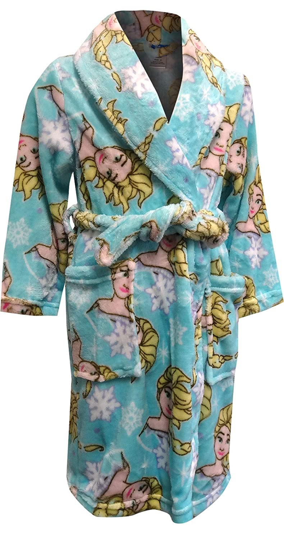 Ame Sleepwear Girls Disney Frozen Elsa Cozy Blue Plush Robe Robes Clothing Accessories