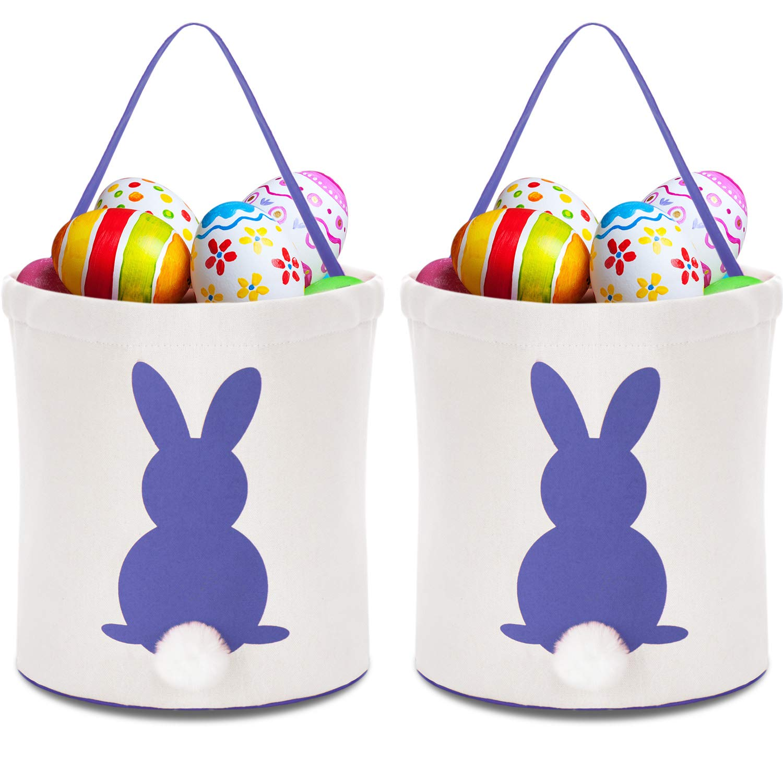 Zhanmai イースターバニーバッグ キャンバス製エッグバスケット エッグキャンディーやギフトの持ち運び用ラビットバッグ 2個 パープル Zhanmai-Easter Basket-01 B07P712S69 パープル