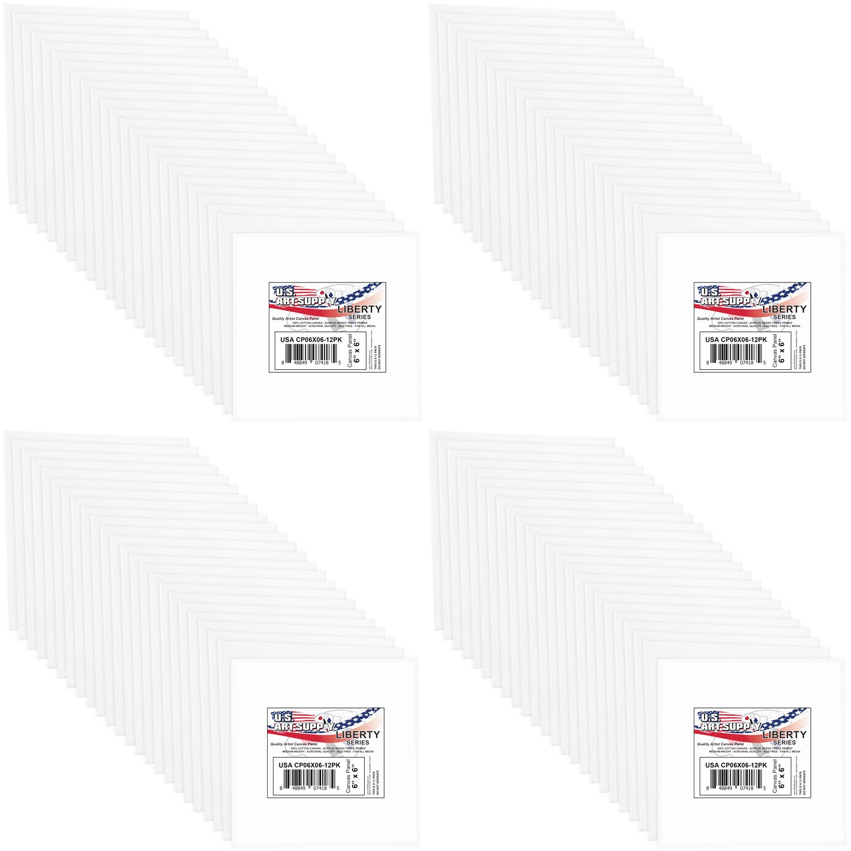 U.S. Art Supply 6 X 6 inch Professional Artist Quality Acid Free Canvas Panels 8-12-Packs (1 Full Case of 96 Single Canvas Panels) by US Art Supply