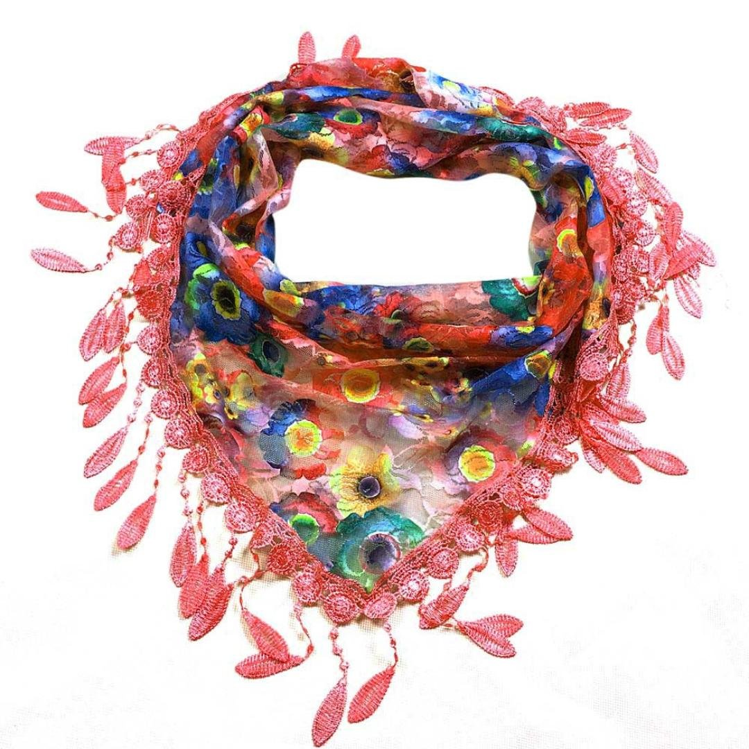5c2ccd8193f7 Foulards Femme, Kolylong® Fashion Tassel Lace Sheer Burntout Imprimé Floral  Triangle Mantilla ÉCharpe ChâLe Koly-7842