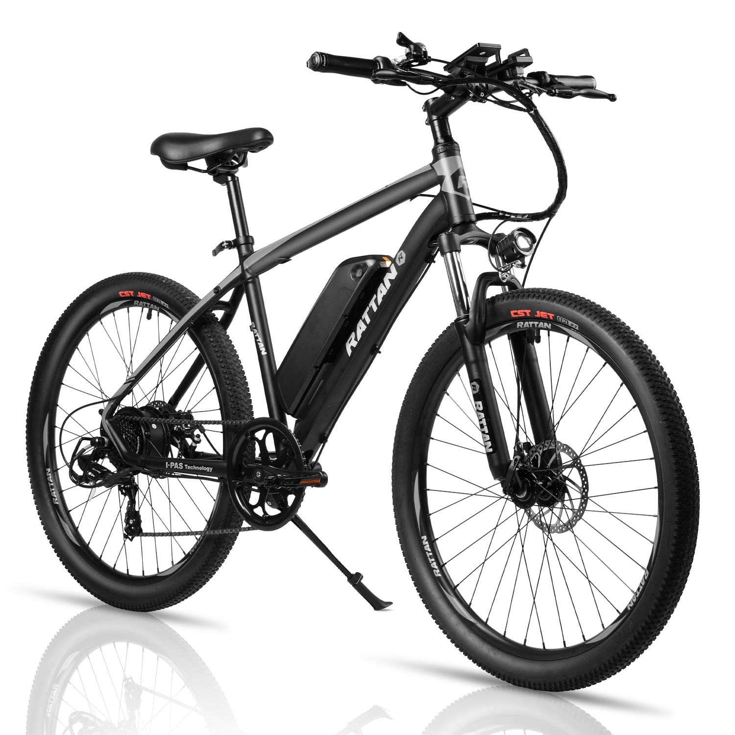 Rattan 26 Inch Mountain Electric Bicycle 36V 10.4AH Removable Lithium-ion Battery Electric Bike for Adult Smart IPAS Assisted System 350W E-Bike 7 Speed Shifter