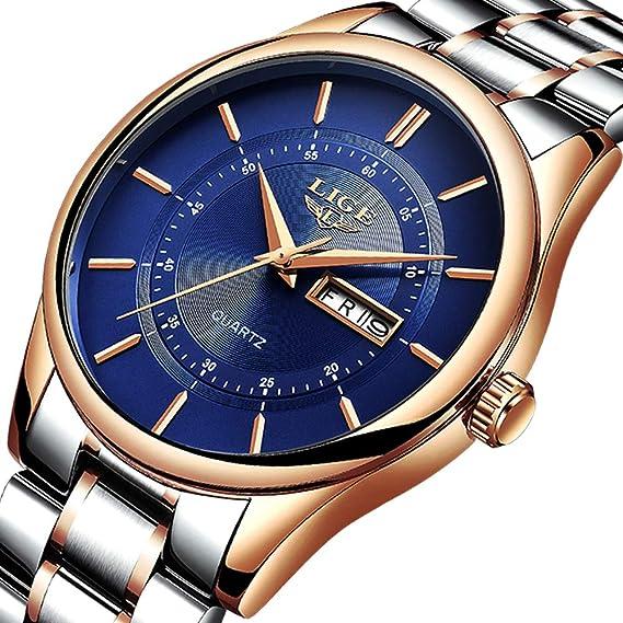 Relojes para hombre,LIGE Acero Inoxidable Impermeable deportivo Relojes analógico de cuarzo Dial azul Fecha