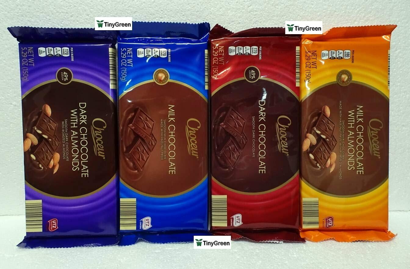 Choceur Chocolate Bar Austria Four Flavors Combo Bundle 5.29oz 150g (Pack of Four)