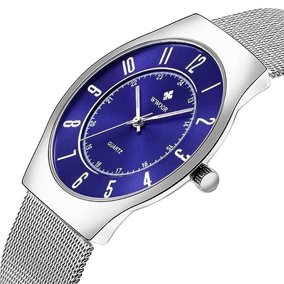 wwoor 8829 Hombres del reloj luminoso de cuarzo de malla mesa superficie Digital reloj de acero
