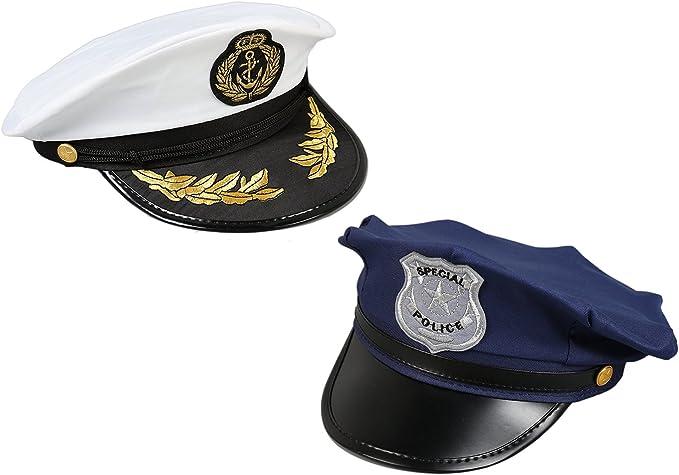 Juvale Sombreros de capitán de mar para Halloween, Juegos de simulación de policías Pequeños (2 Piezas) Blanco y Azul Oscuro: Amazon.es: Juguetes y juegos