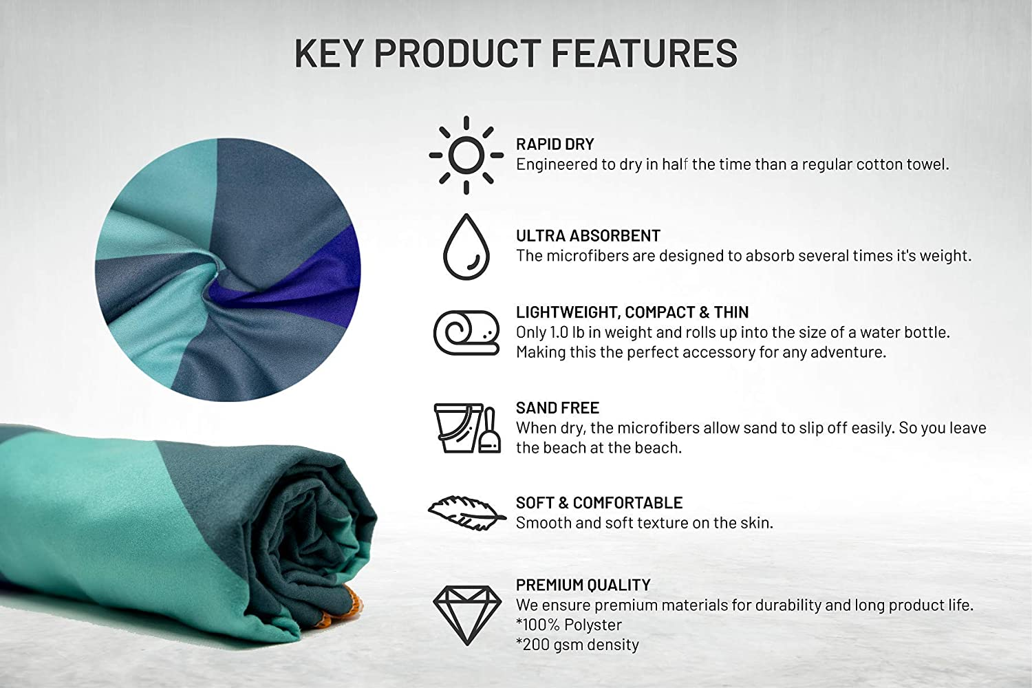 Microfiber Beach Towel by Pangea Yoga Gym Body Hair Thin XL Extra Large Quick Dry Ultralight Good for Travel