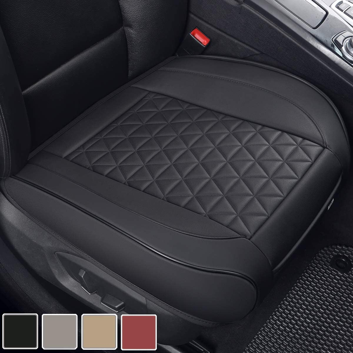 Black Panther Luxury PU Leather Car Seat Cover Protector for Front Seat Bottom,Compatible with 90% Vehicles (Sedan SUV Truck Van MPV) - 1 Piece,Black (21.26×20.86 Inches)