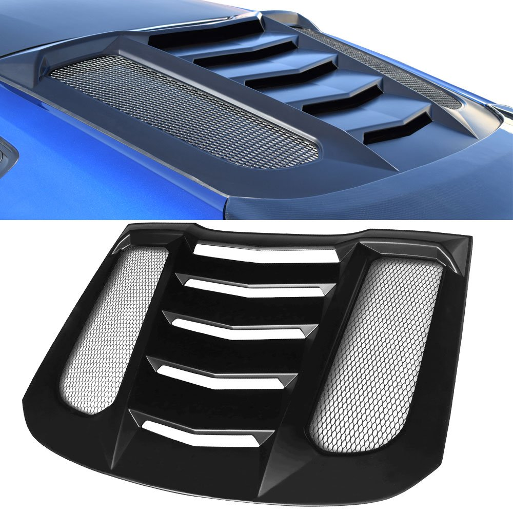 Window Louvers Fits 2015-2018 Ford Mustang | IKON V2 Style ABS Plastic Black Rear Window Louver Visors Guards By IKON MOTORSPORTS | 2016 2017