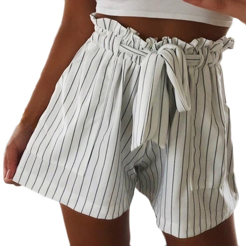 c1dbc3a379db67 BakeLIN Damen Shorts Casual Reine Farbe Streifen Hohe Taille Kurze Hose  Lose Strand Hot Pants (