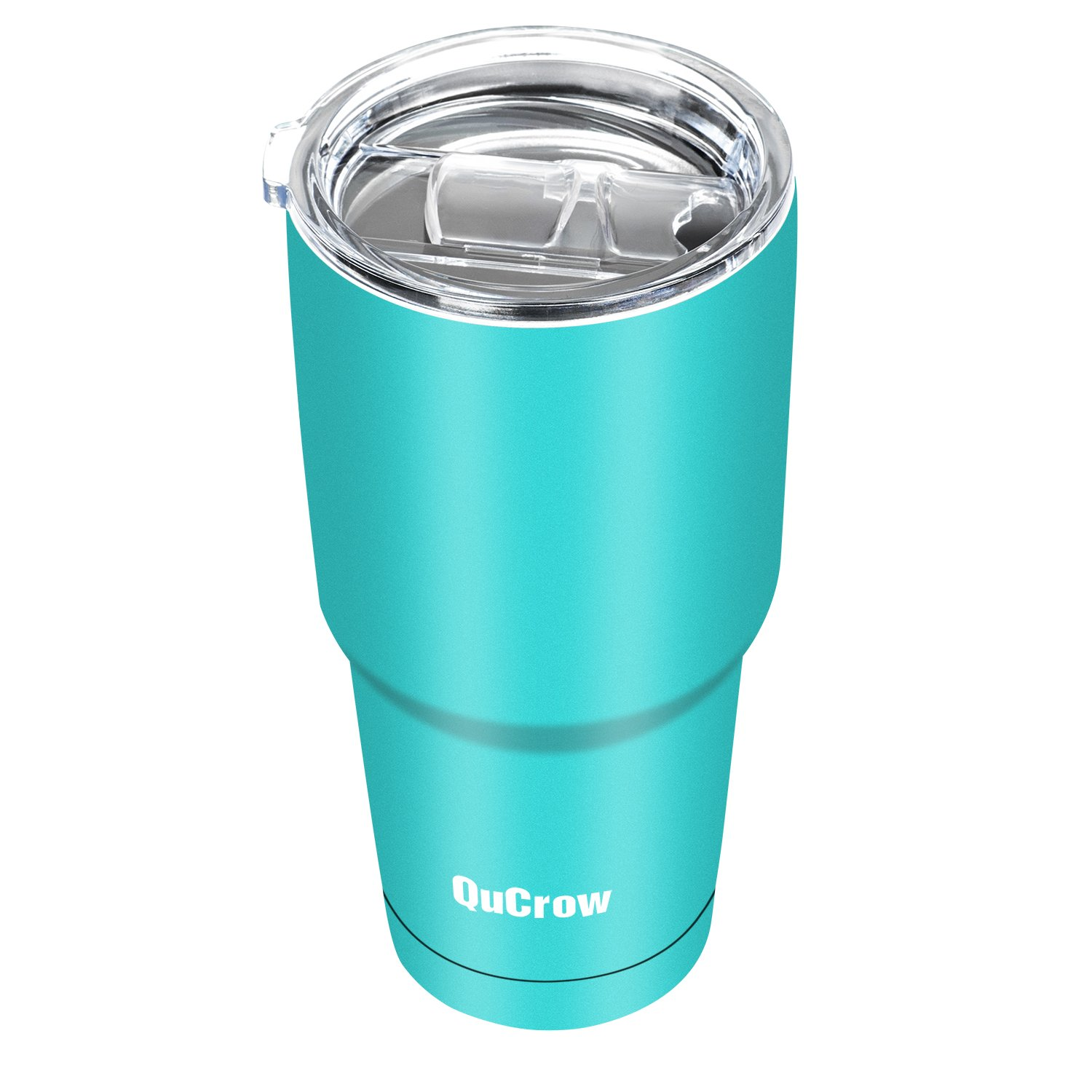 QuCrow 30oz Vacuum Insulated Tumbler- Double Wall Stainless Steel Tumbler with Lid- Coffee Travel Mug- Turquoise