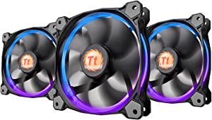 Thermaltake Riing 14 RGB Series High Pressure 140mm Circular LED Ring Case Radiator Fan CL-F043-PL14SW-B