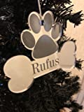 Personalised Christmas Tree Decoration - Xmas Bauble Engraved Gift - Dog Bone with Name -L1121