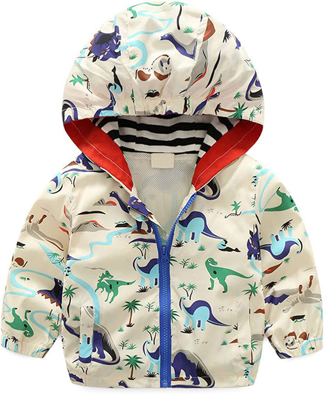 Toddler Boy Jacket Dinosaur Baby Jacket Zipper Hooded Outwear Windproof Coat