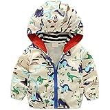 lymanchi Kid Baby Boy Dinosaur Hooded Zip Jackets Windbreaker Casual Outerwear