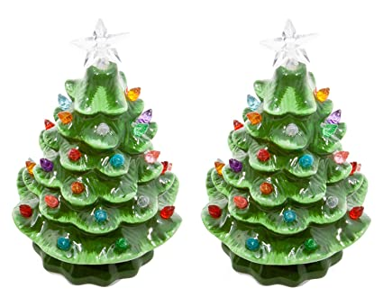 ReLive Christmas is Forever Lighted Tabletop Ceramic Tree, Set of 2, 7-Inch - Amazon.com: ReLive Christmas Is Forever Lighted Tabletop Ceramic
