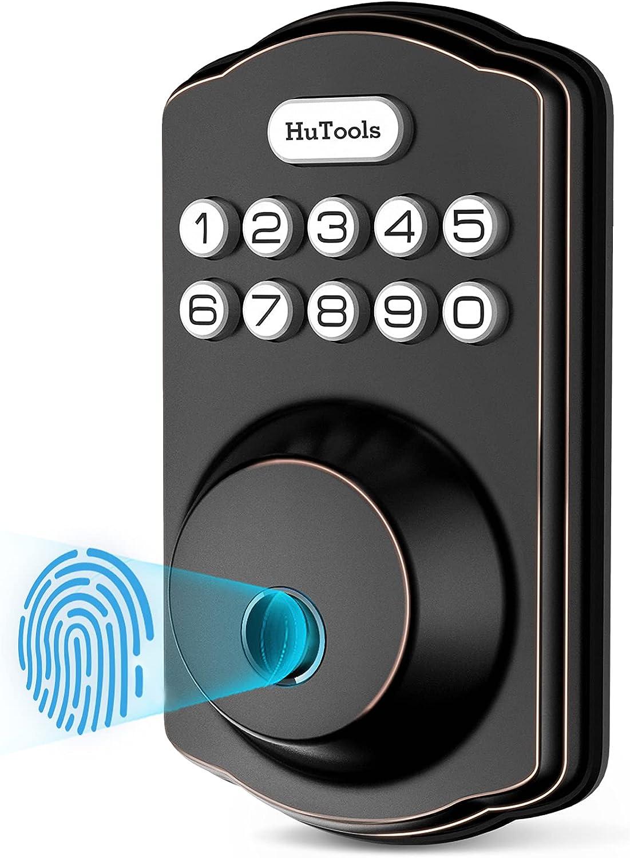 Fingerprint Door Lock, Hutools Keyless Entry Deadbolt Locks with Keypads, Biometric Door Lock, Auto Lock, 20 User Codes, 1 Touch Locking for Front Door, Bedroom, Oil Rubbed Bronze