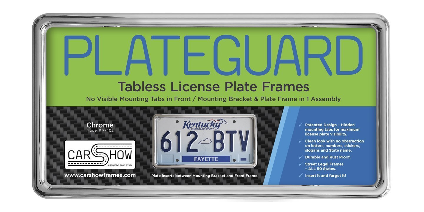 Carshow Automotive Products 77402 Plateguard, Tabless License Plate Frame and Holder/Bracket, Chrome