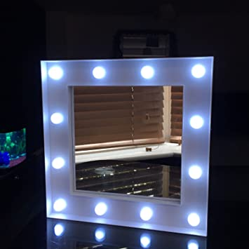 Small White Led Light Hollywood Style Wall Mirror Girls Bathroom