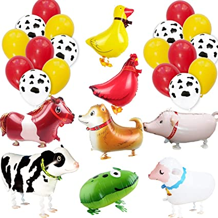 Amazon.com: Globos de animales de granja para decoración de ...