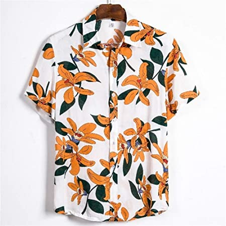 ARTFFEL Camisa de los Hombres Camisa de Botones se encajan Playa Tropical Camisas Mangas (Color : CS132, Size : 2XL): Amazon.es: Hogar